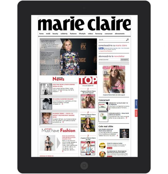 Marie Claire on an iPad