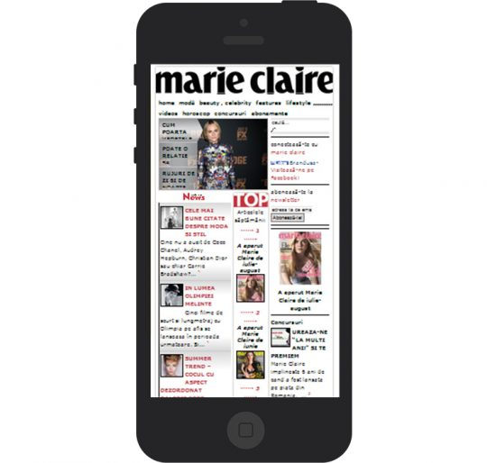 Marie Claire on an iPhone